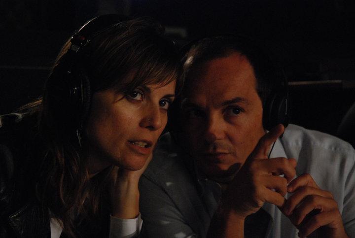 Col regista Massimo D'Orzi, lavorando al film Samara